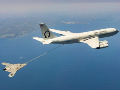 US Navy's X-47B, AV-2, Bureau # 168064, of Air Test and Evaluation Squadron Two Three (VX-23) successfully complete Air-to-Air Refueling (AAR) with the K-707 Omega Tanker over the Chesapeake Bay on 22 April 2015. VX-23 is part of the Naval Test Wing Atla